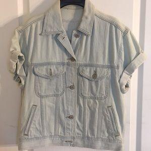 Denim light wash short sleeve vest